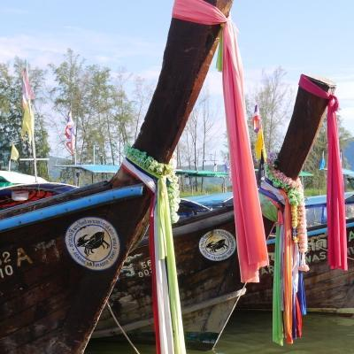 Long-tail boats found near the beach in Krabi and our Thailand volunteer work with Projects Abroad.